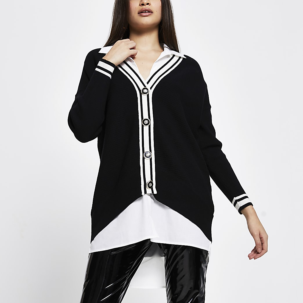 Black button up long sleeve shirt jumper