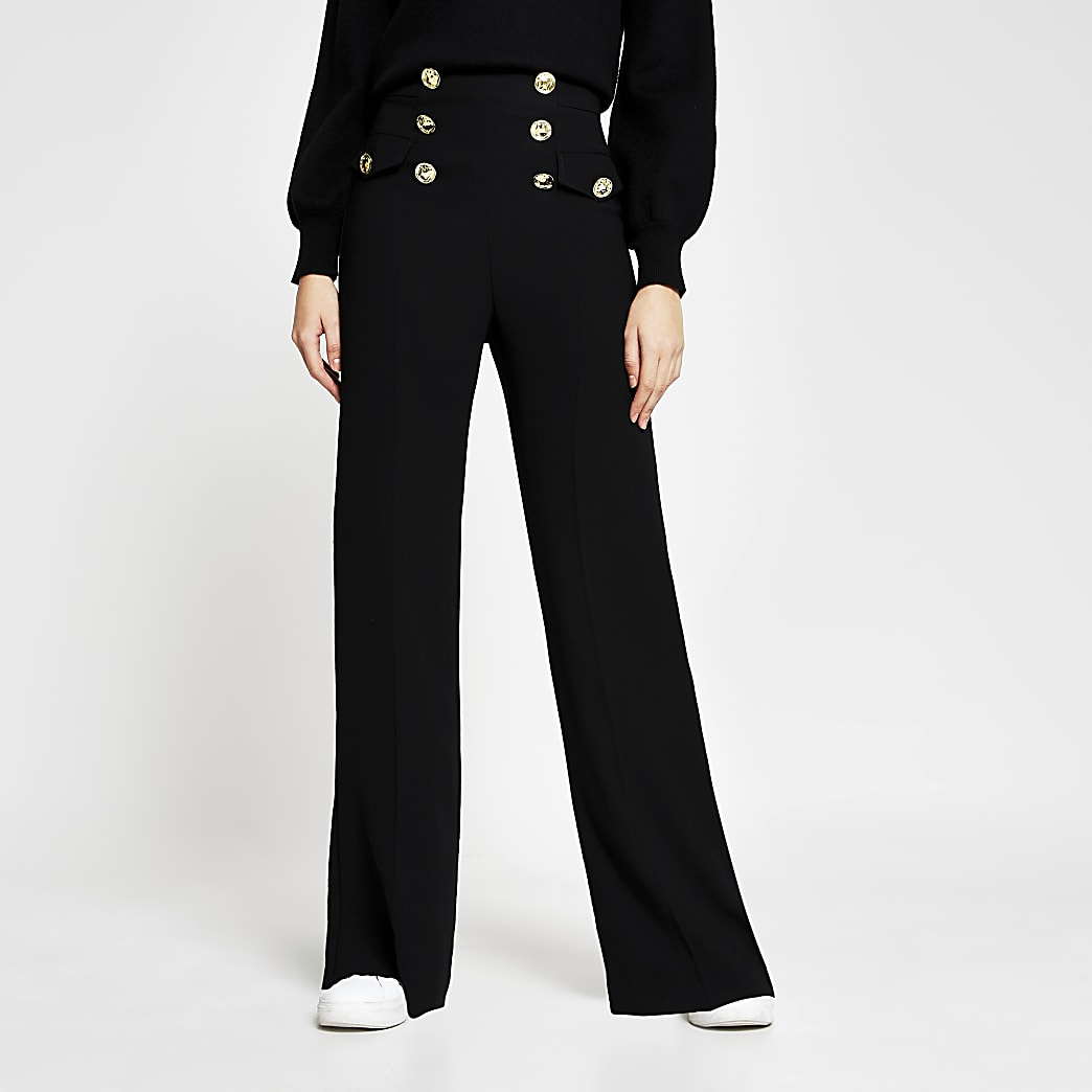 Black Button Wide Leg Trouser