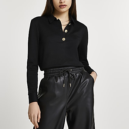 Black buttoned long sleeve polo shirt