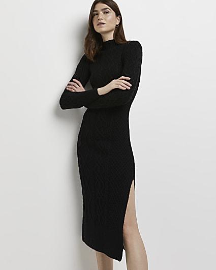 Black cable knit bodycon midi dress