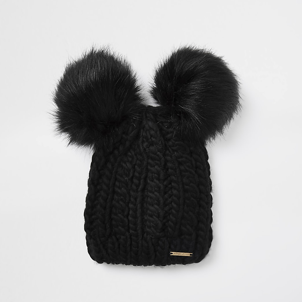 Black cable knit double pom pom beanie hat
