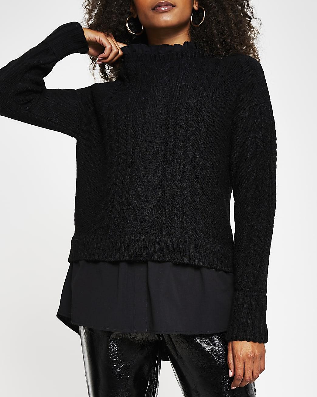 Black cable knit hybrid jumper