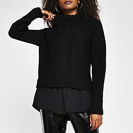 Black cable knit hybrid jumper
