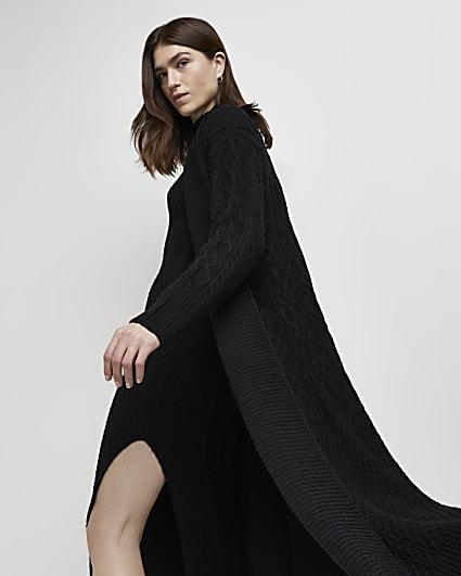 Black cable knit longline cardigan