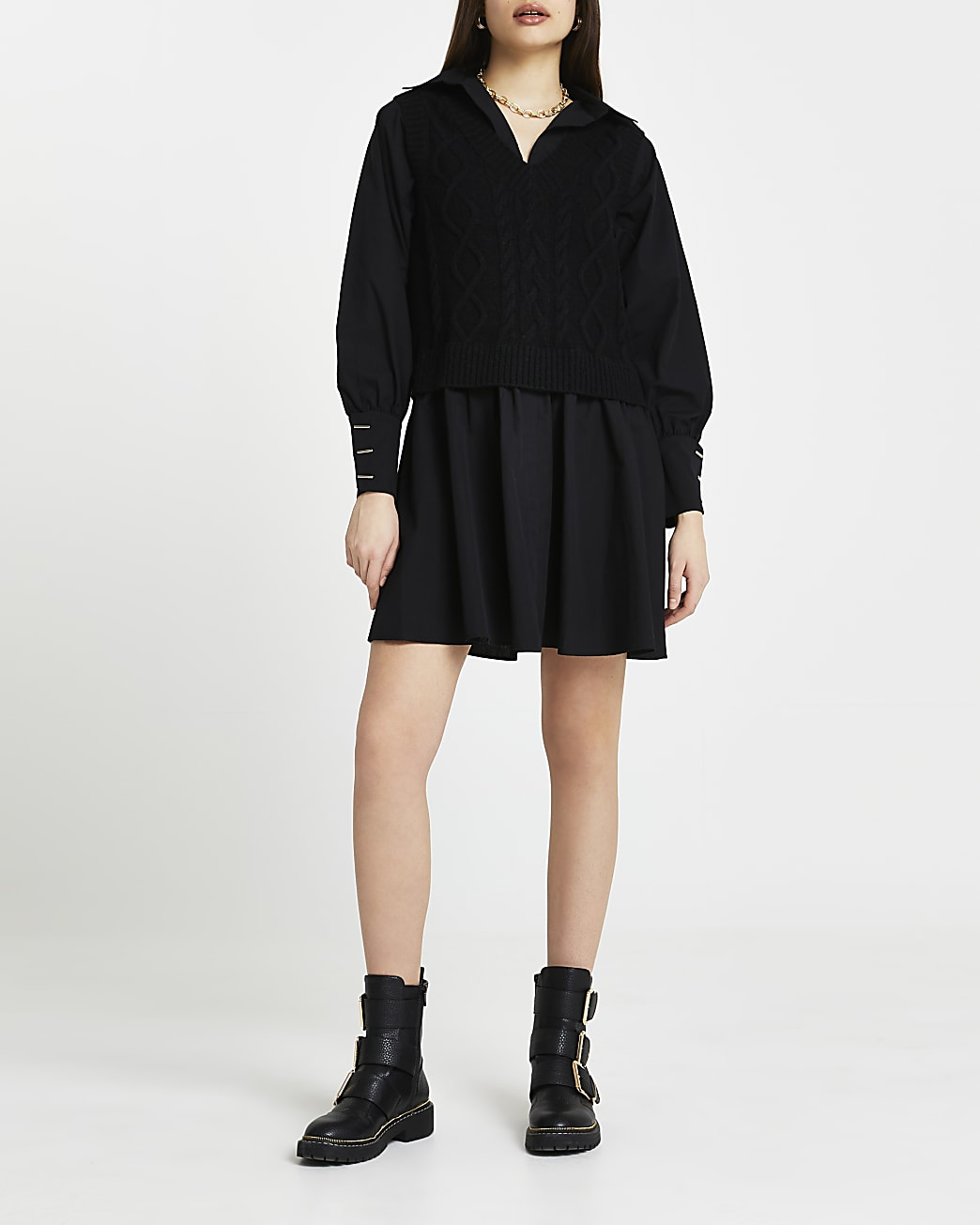 Black cable knit shirt dress