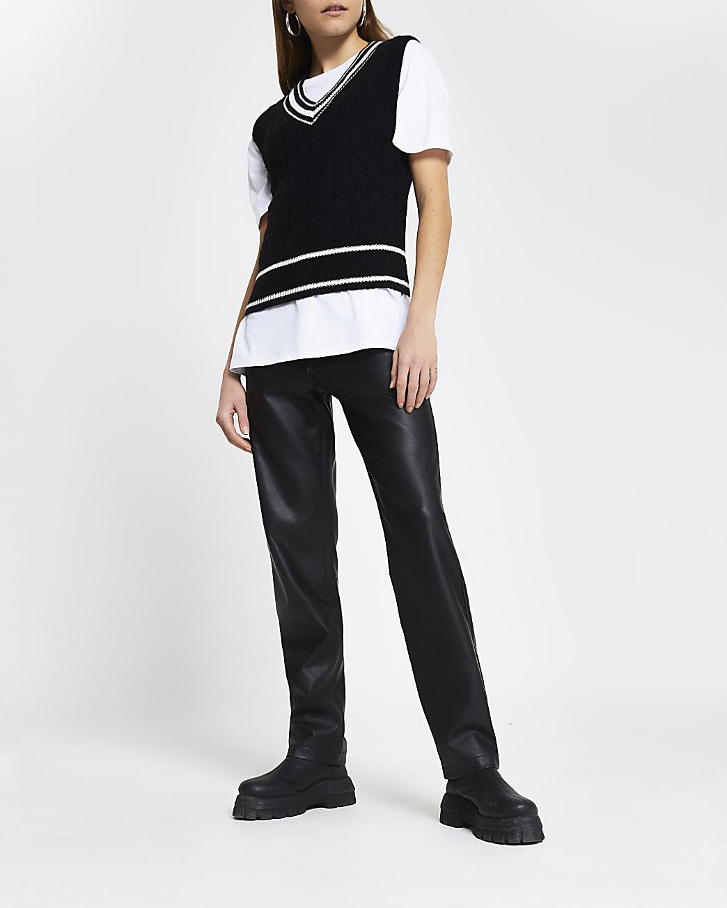 Black cable knit sleeveless cardigan