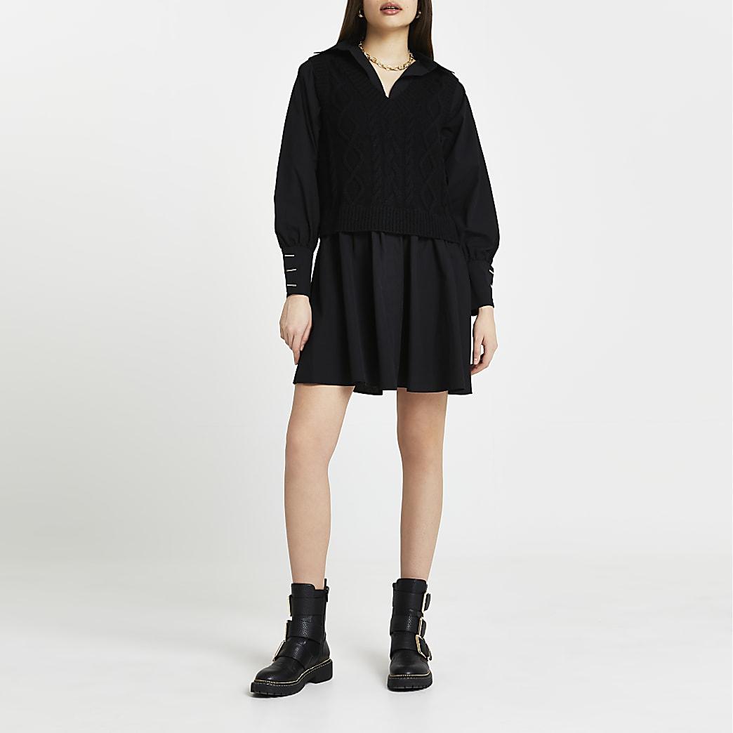 Black cable knit tank dress