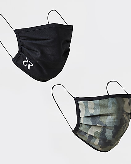 Black camo print face covering pack of 2