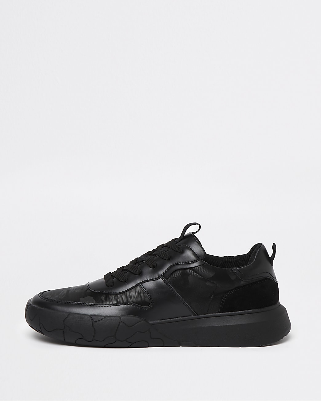 Black camo print lace up runner trainers