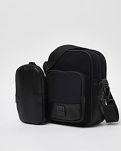 Black canvas cross body bag with pouch