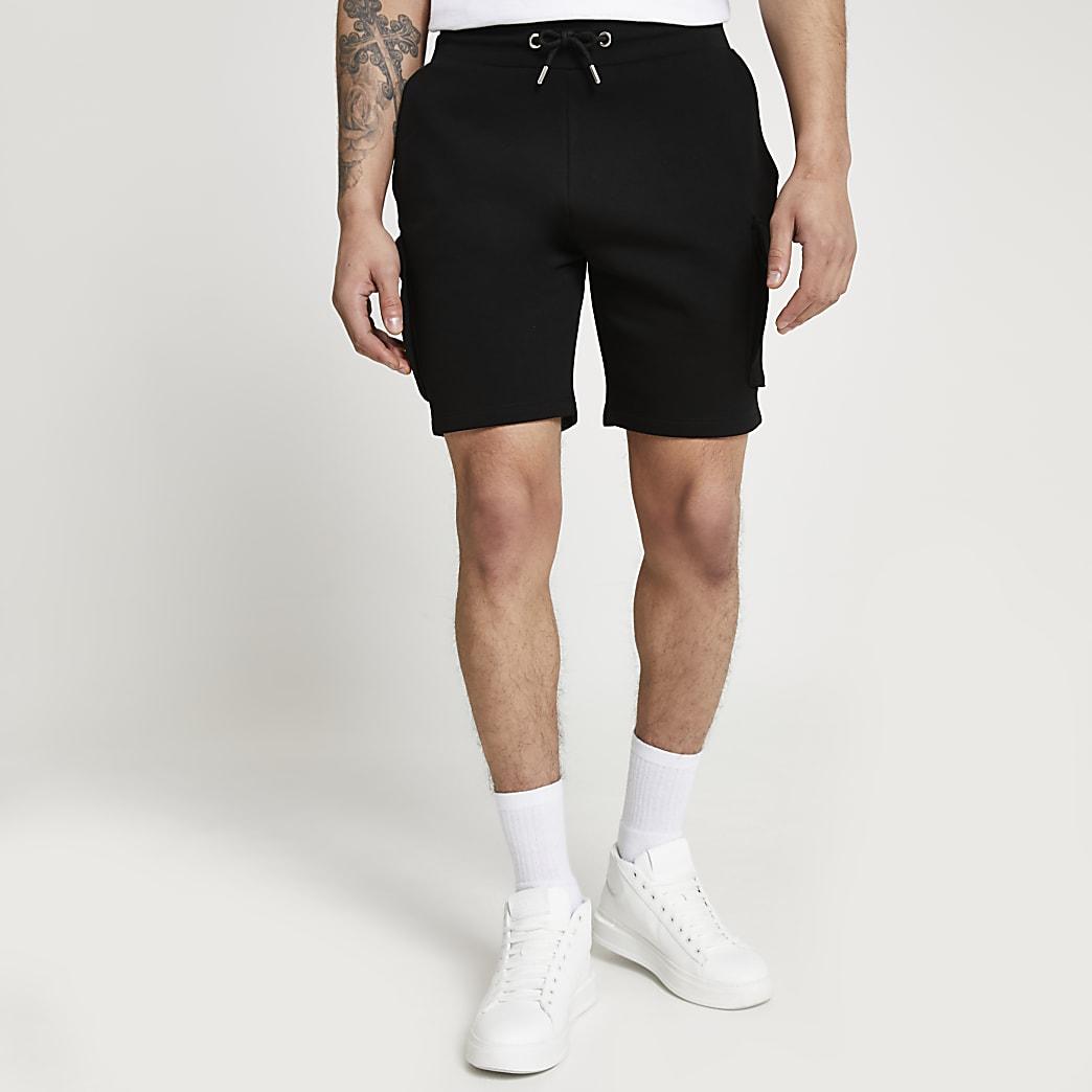 Black cargo cotton slim fit shorts