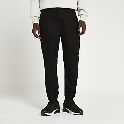 Black cargo utility skinny fit trousers
