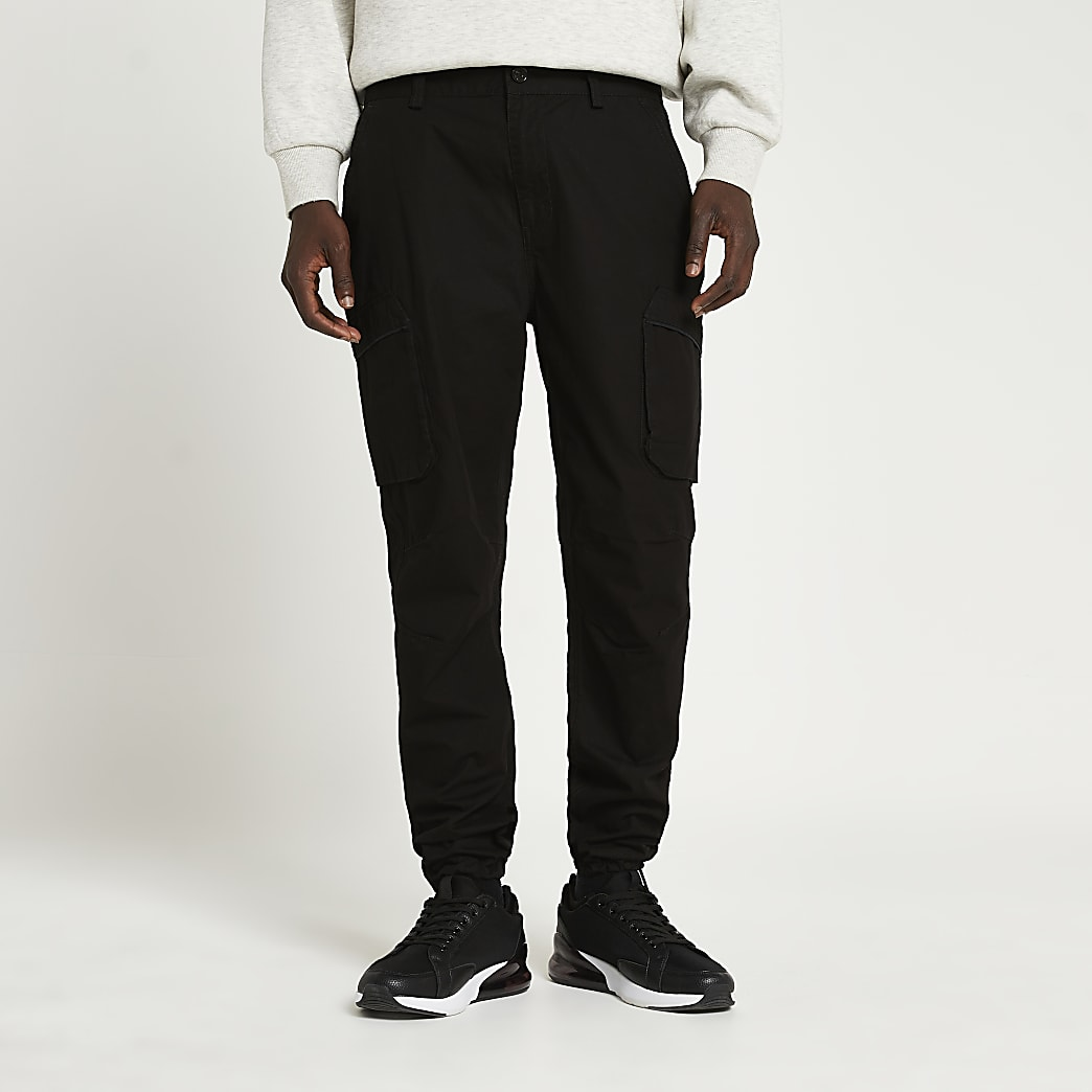 Black cargo utility slim fit trousers