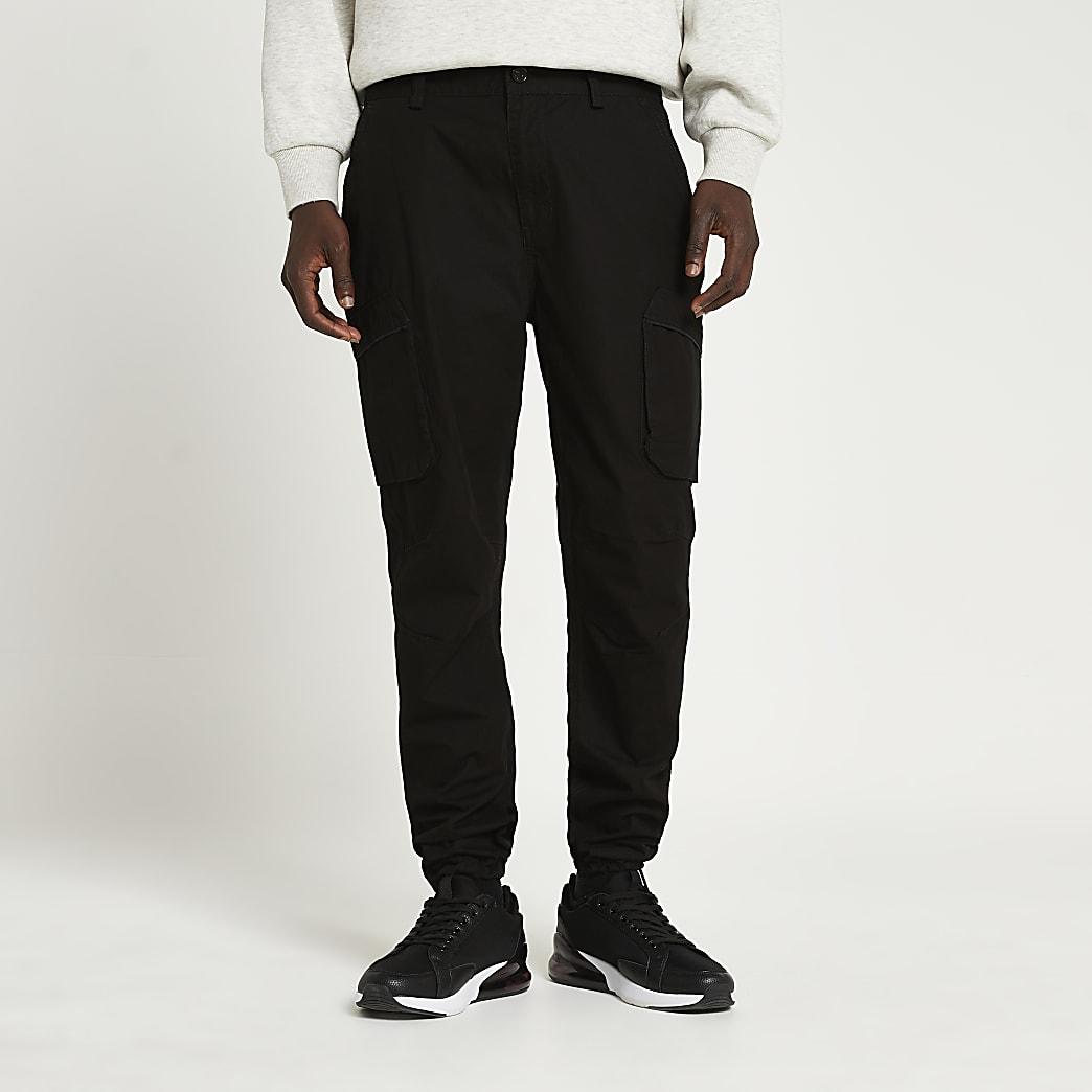 Black cargo utility slim fit trousers