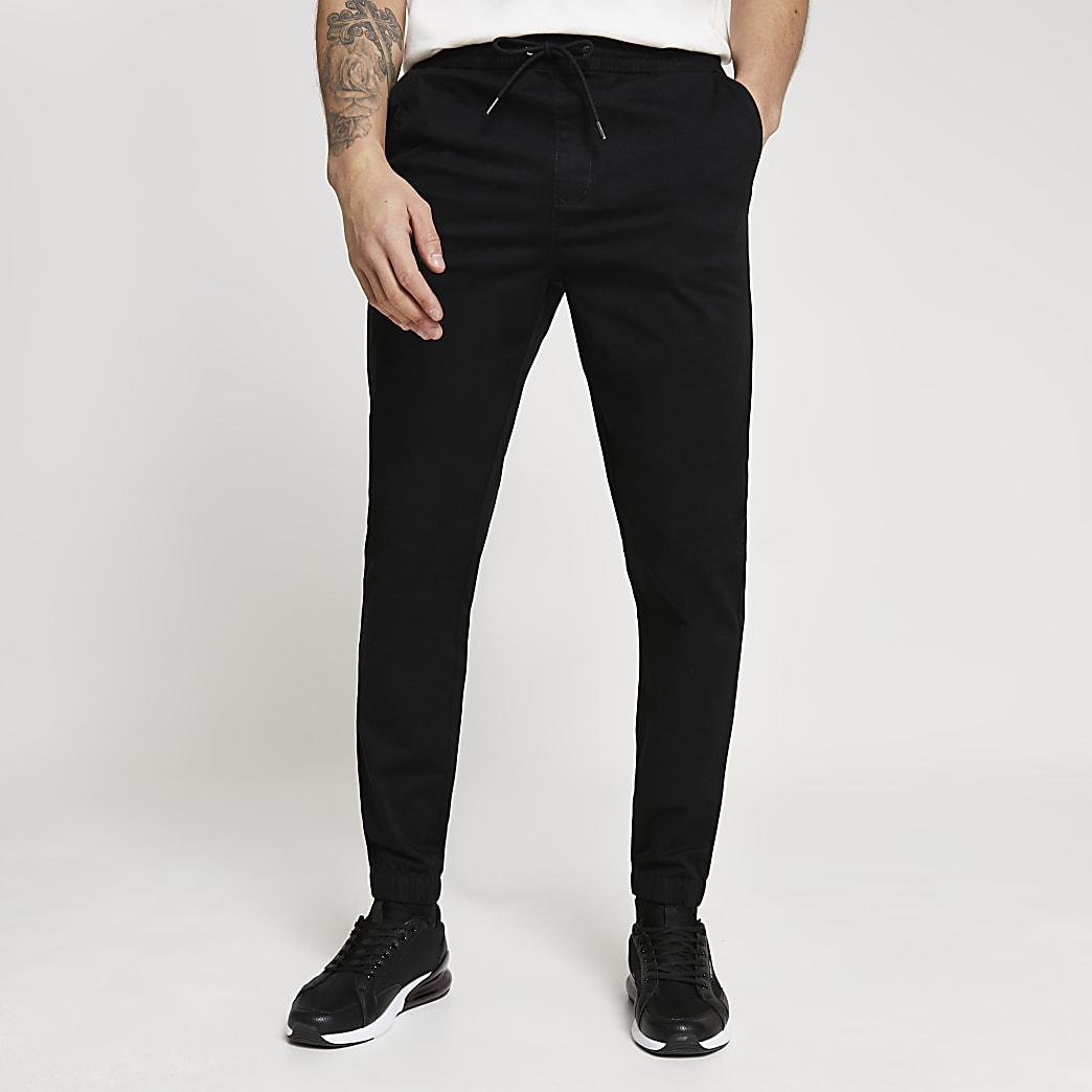 Black casual slim fit chinos