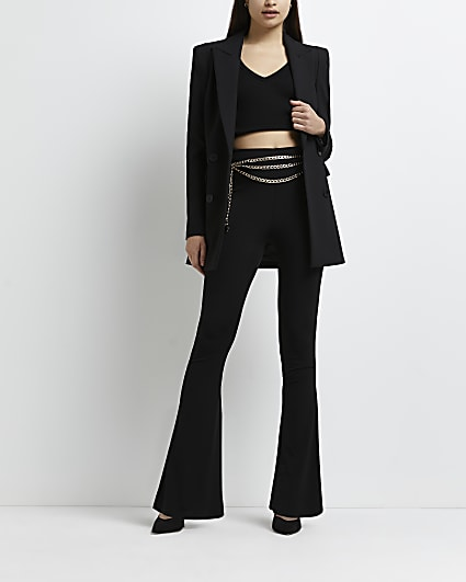 Black chain belted flared trousers