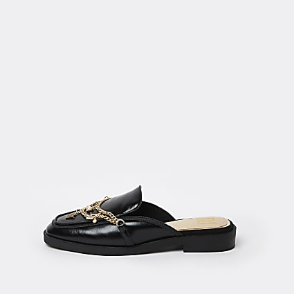 Black chain charm backless loafers