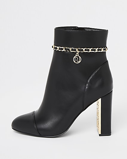 Black chain detail ankle boots