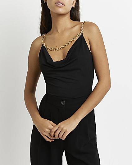 Black chain detail cami top