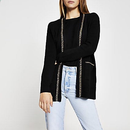 Black chain detail embellished cardigan