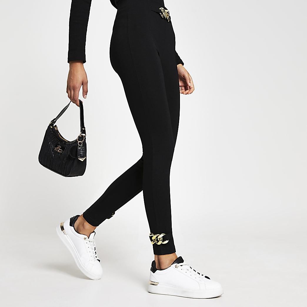 Black chain detail leggings