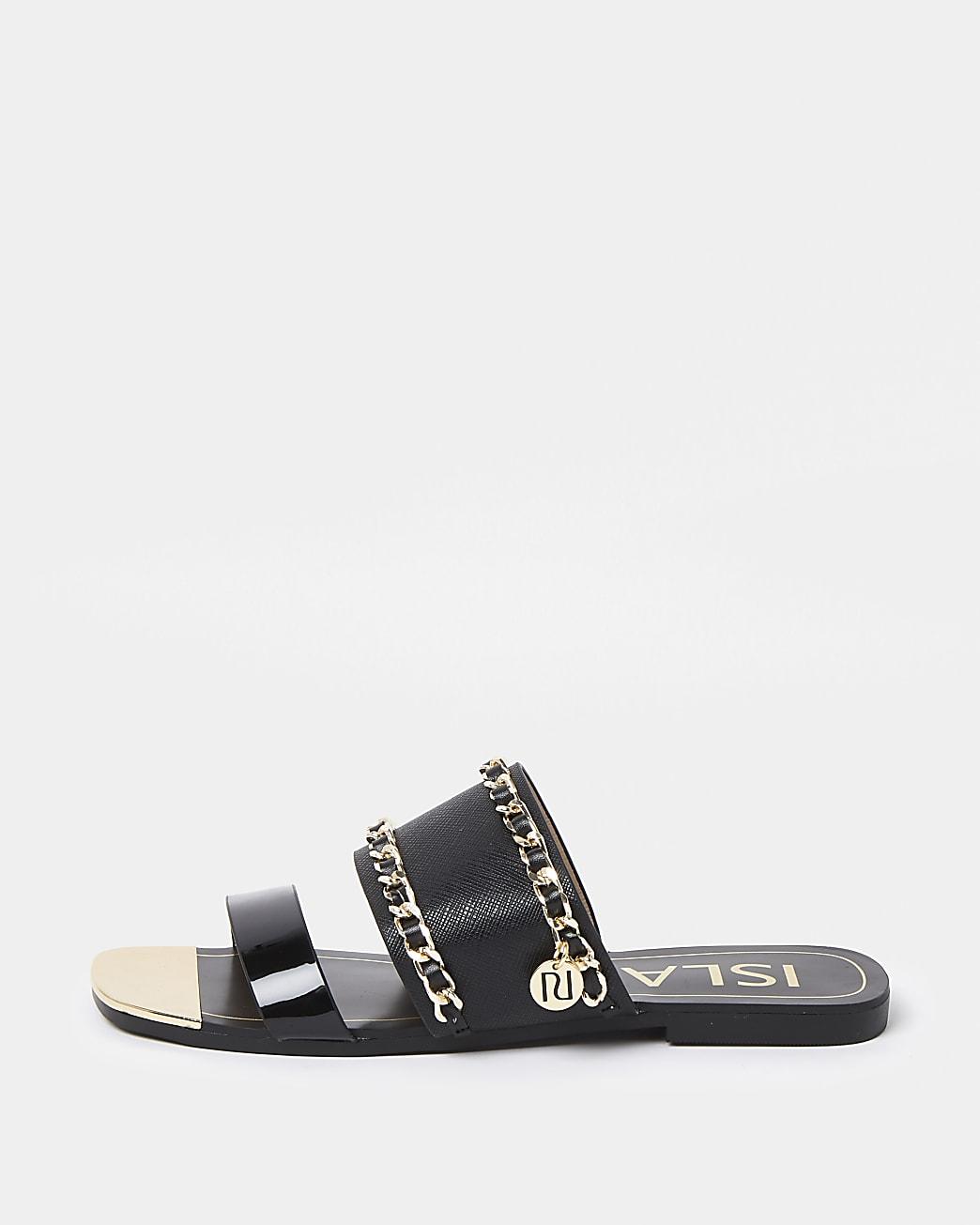 Black chain detail mule sandals