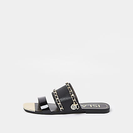 Black chain detail mule sandals