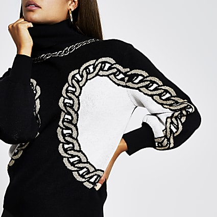 Black chain detail print jumper