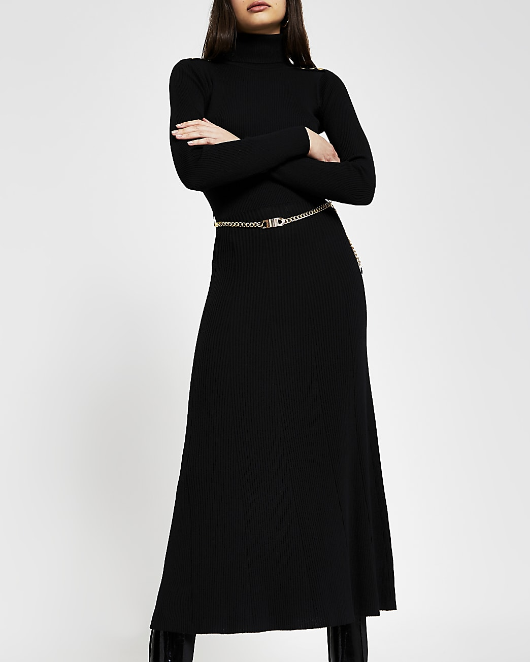 Black chain detail ribbed long sleeve dress