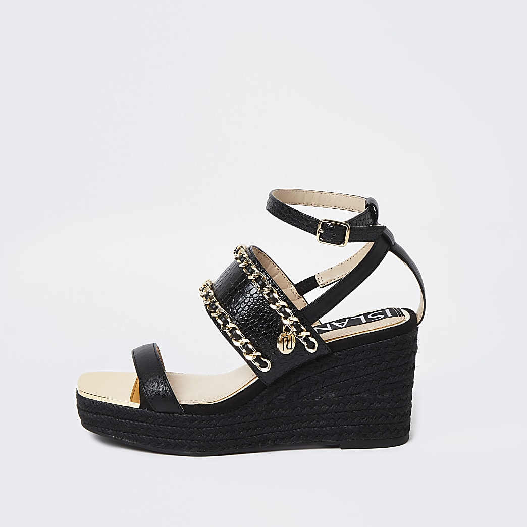 Black chain detail wedge sandals