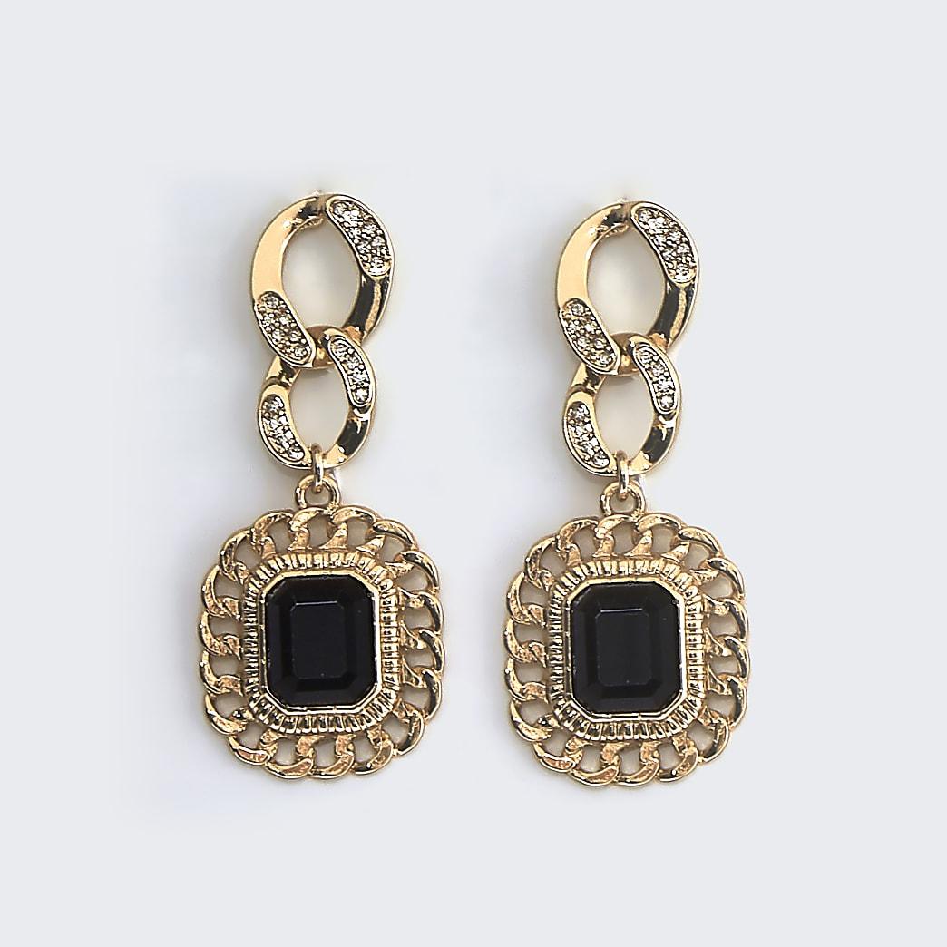 Black chain drop earrings