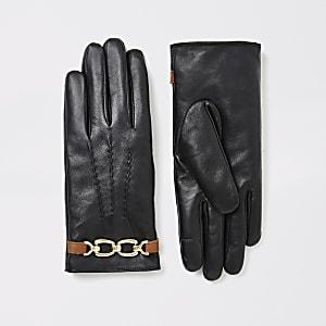 Zwarte leren handschoenen met ketting en imitatiebont voering
