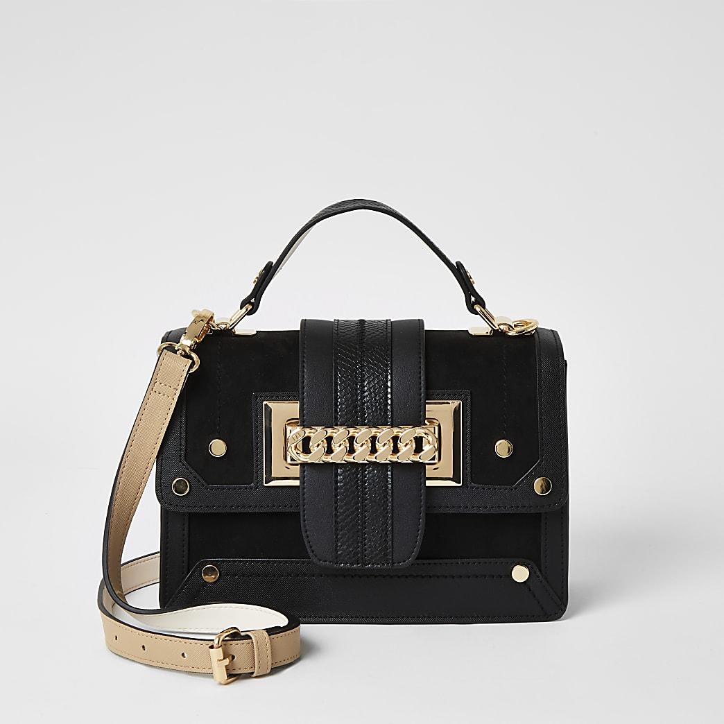 Schwarze Satchel-Tasche zum Umhängen mit Kette vorne