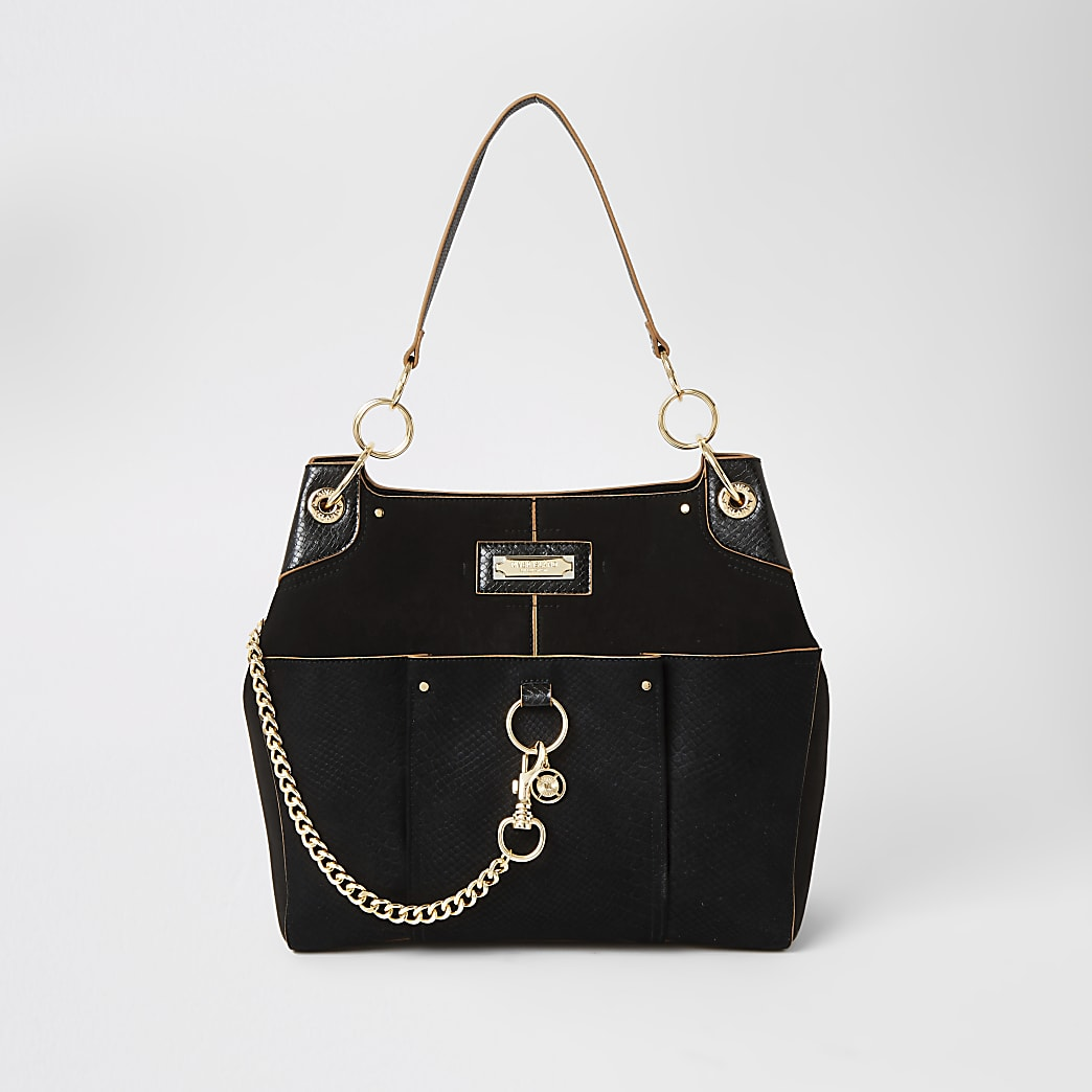 Black chain front utility slouch bag