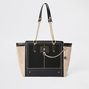 Black chain front winged tote bag
