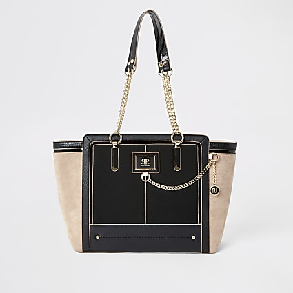 Black chain front winged tote Handbag
