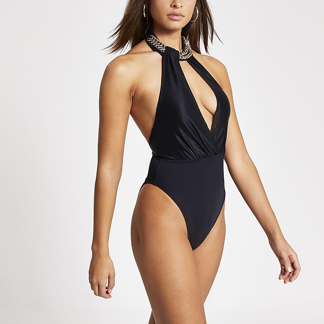Schwarzer Badeanzug mit Ketten-Neckholder