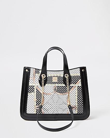 Black chain handle scarf print shopper bag