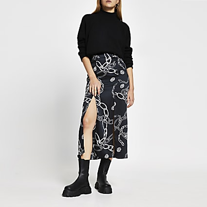 Black chain print double split midi skirt