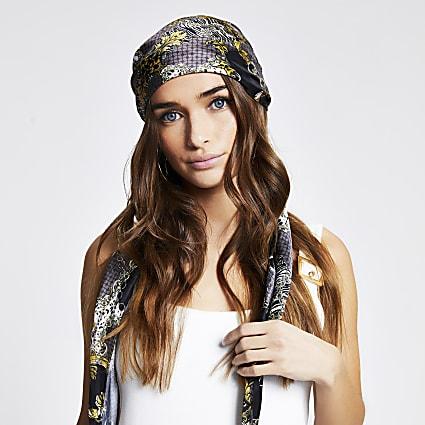 Black chain print headscarf