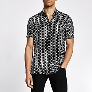 Zwart slim-fit overhemd met kettingprint
