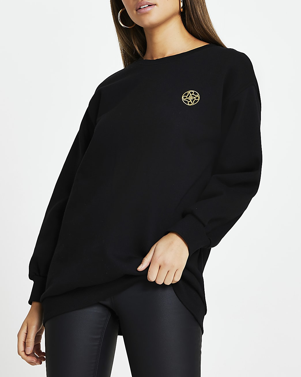 Black Chain Puff Sleeve Sweatshirt