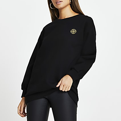 Black Chain Puff Sleeve Sweatshirt