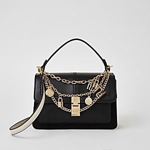 Black chain RI charm cross body satchel bag