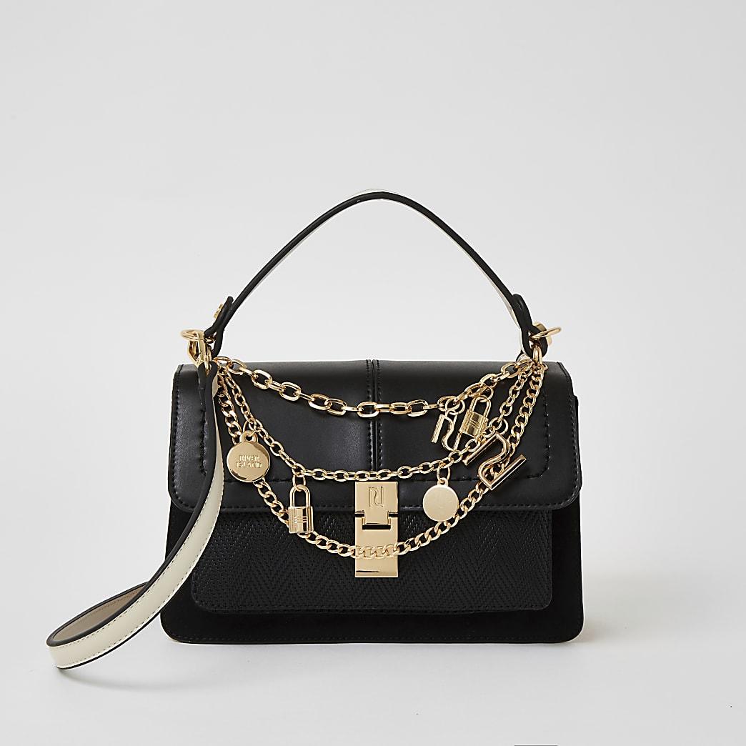 Black chain RI charm cross body satchel bag