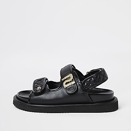 Black chain RI double strap sandal