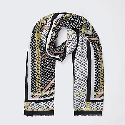 Black chain RI monogram print scarf