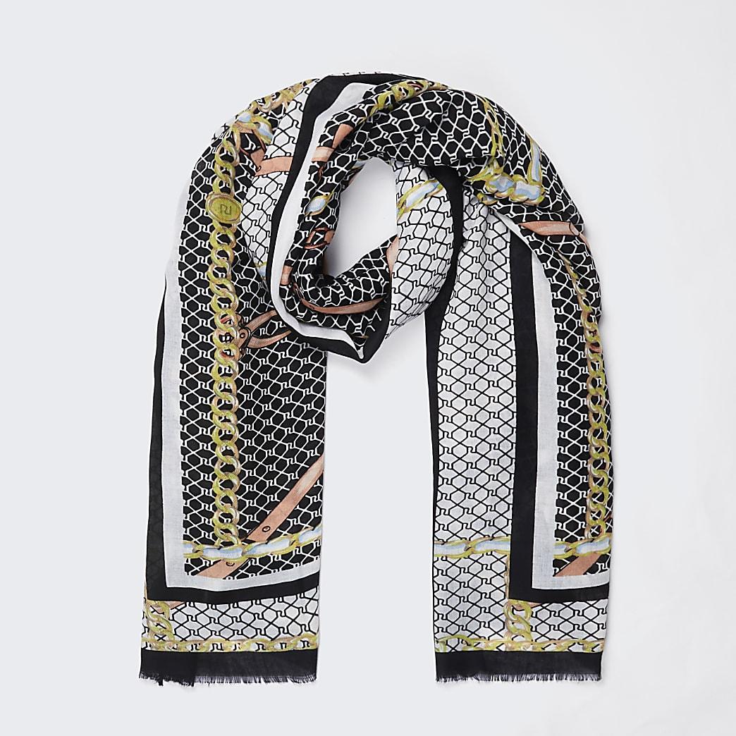 Black chain RI monogram print scarf