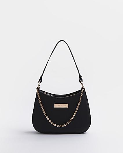Black chain scoop shoulder bag