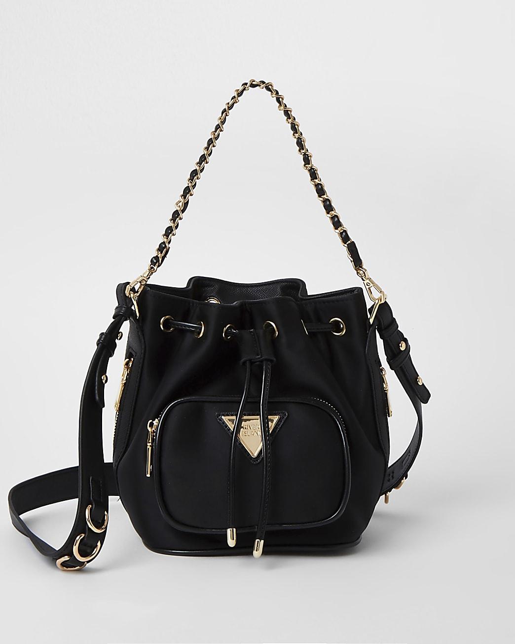 Black chain strap bucket bag